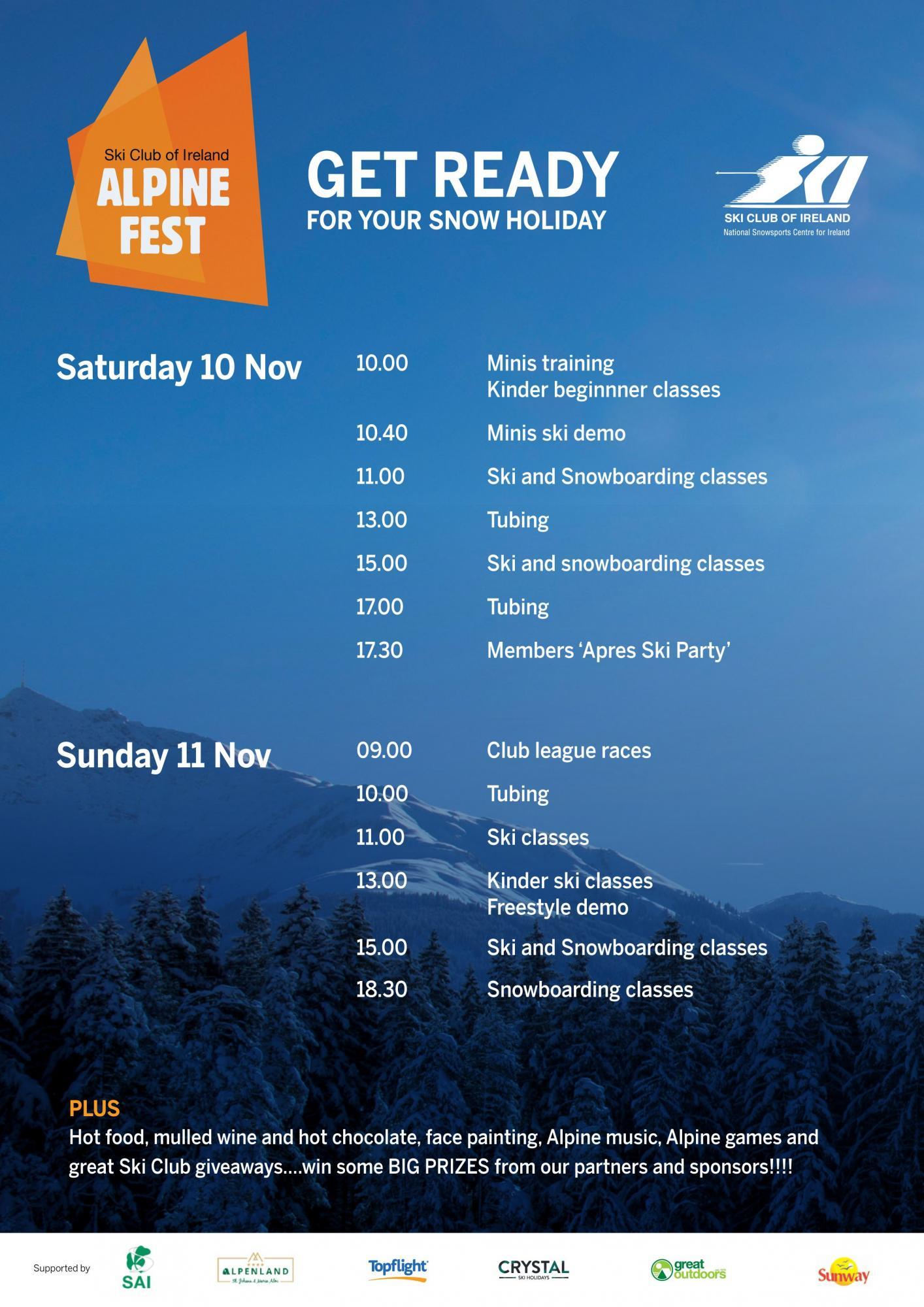 Schedule of activities at Alpine Fest