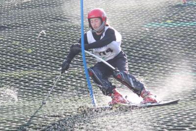 skier racing through gates