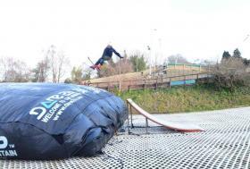 Ski jump into big bag on WSD at SCI